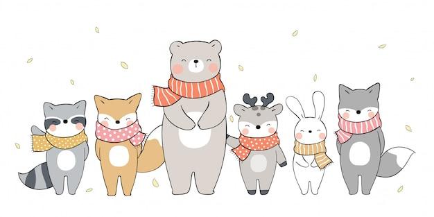 Narysuj transparent słodkie zwierzęta stojące na jesiennych liściach. na jesień.