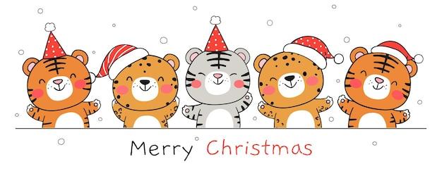 Narysuj transparent szczęśliwego tygrysa na białym na nowy rok i święta