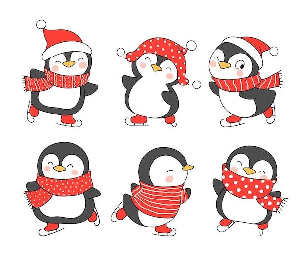 Narysuj uroczego zabawnego pingwina na boże narodzenie