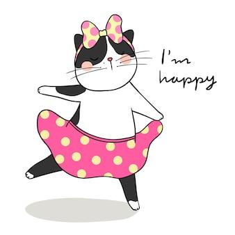 Narysuj uroczy czarny kot tańczący i słowo jestem szczęśliwy