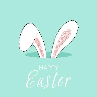 Narysuj uszy królika w otworze w stylu kreskówki doodle