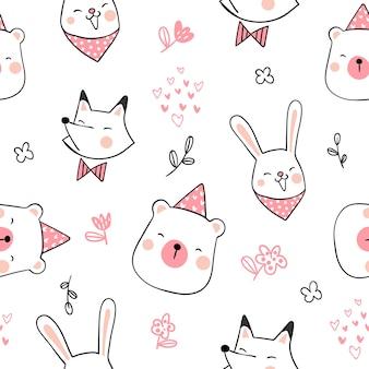 Narysuj wzór cute zwierząt