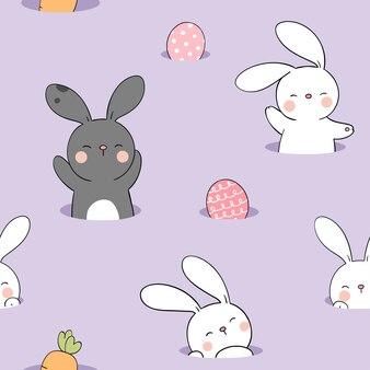 Narysuj wzór królika z jajkiem na fioletowy pastel