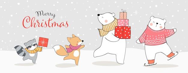 Narysuj zabawne zwierzę bawiące się w śniegu zima i boże narodzenie.