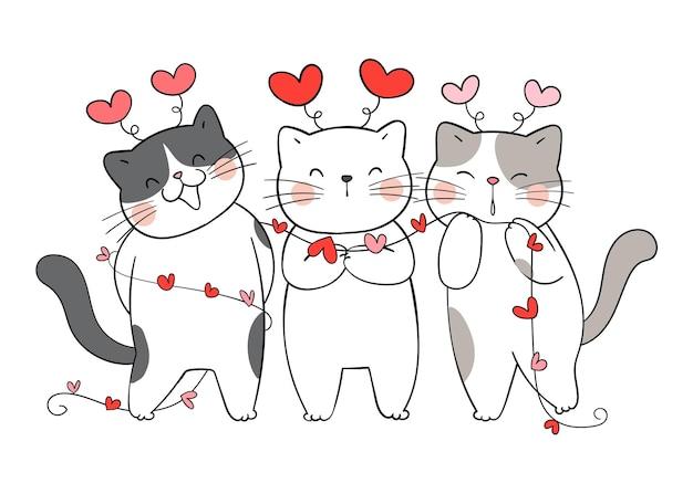 Narysuj zabawnego kota miłosnego z małym sercem na walentynki