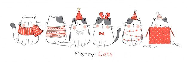 Narysuj zabawnego kota na boże narodzenie i nowy rok.