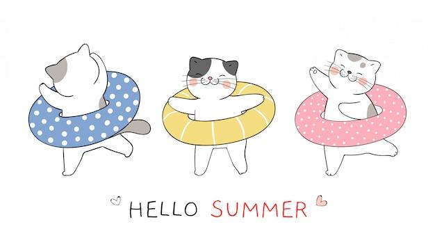 Narysuj zabawnego kota z kolorowym gumowym pierścieniem na lato.