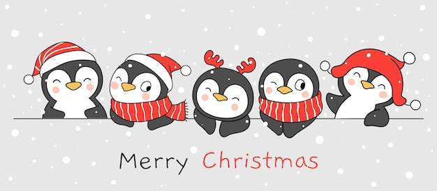 Narysuj zabawnego pingwina na boże narodzenie i zimę