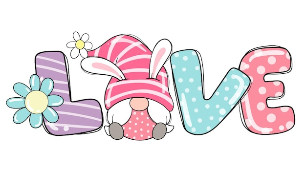 Narysuj zakochaną dziewczynę, krasnala króliczka w sezonie wiosennym