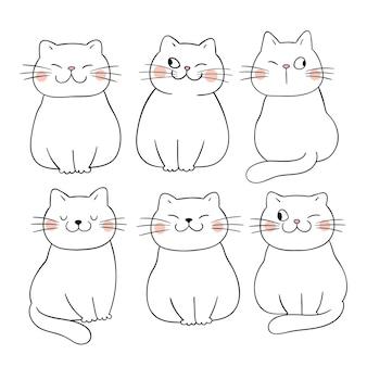 Narysuj zarys kolekcji słodkie koty doodle stylu cartoon cartoon
