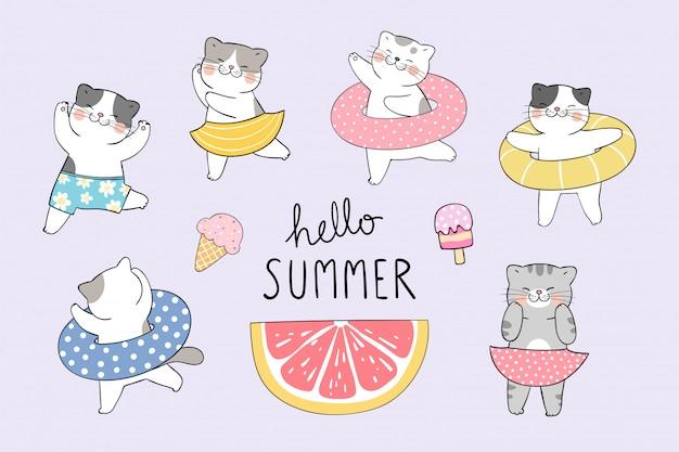 Narysuj zbiór zabawny kot na plaży. koncepcja lato.