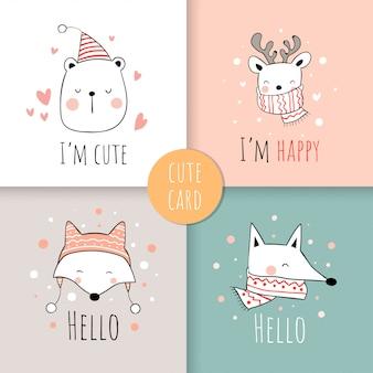 Narysuj zestaw kart zwierzęcych na boże narodzenie.