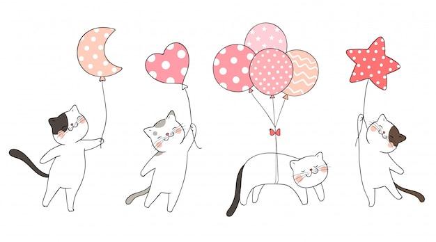 Narysuj zestaw ładny kot trzyma balonik w słodkim kolorze.