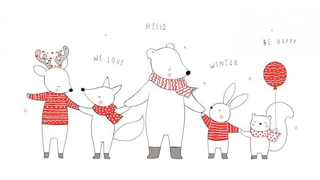 Narysuj zwierzę trzymając się za ręce na boże narodzenie i nowy rok.