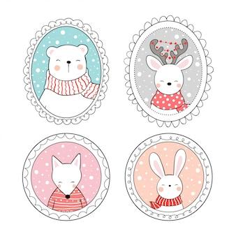 Narysuj zwierzę w vintage ramce na boże narodzenie.