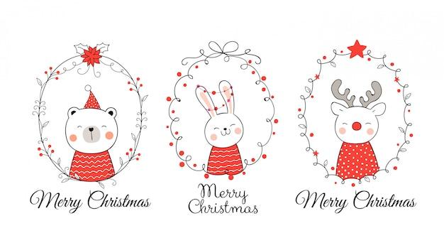 Narysuj zwierzę w wieniec na boże narodzenie i nowy rok.
