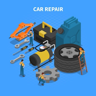 Narzędzia do naprawy samochodów Isometric Concept
