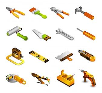 Narzędzia izometryczne ikony