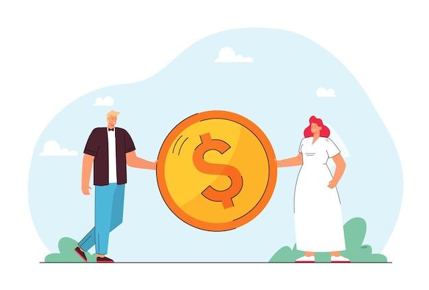 Narzeczeni razem trzyma gigantyczną monetę. mężczyzna i kobieta dzielą się pieniędzmi płaską ilustracją