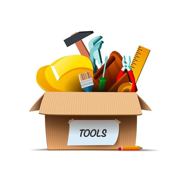 Narzędzia budowlane i kask w szufladzie.
