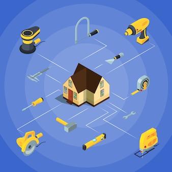 Narzędzia budowlane izometryczne ikony infographic
