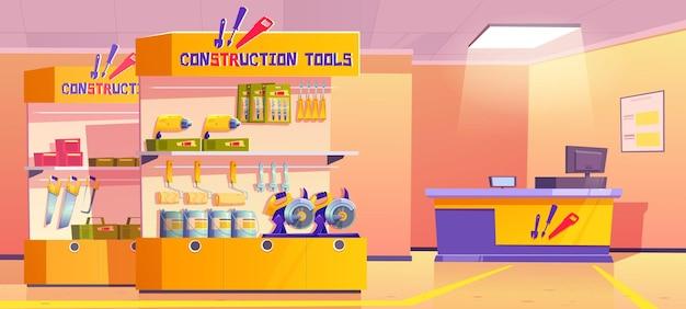 Narzędzia budowlane przechowują wnętrze sklepu ze sprzętem