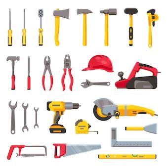 Narzędzia budowlane. sprzęt budowlany, śrubokręt, młotek, piła i wiertarka, kask budowlany i sprzęt elektryczny. zestaw narzędzi do naprawy wektorów. ilustracja wiertarka i młotek, sprzęt narzędziowy