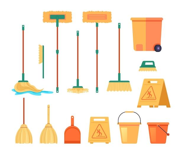 Narzędzia do czyszczenia miotła mop dostarcza na białym tle zestaw. ilustracja kreskówka
