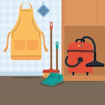 Narzędzia do czyszczenia na ilustracji domu