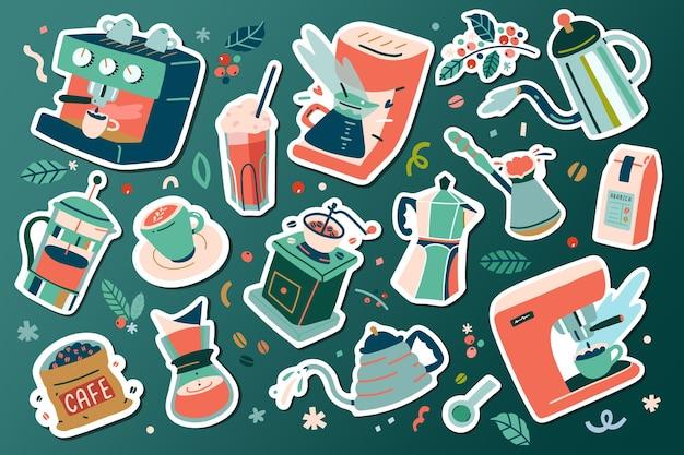 Narzędzia do kawy i naczynia, naklejki ilustracji kawy