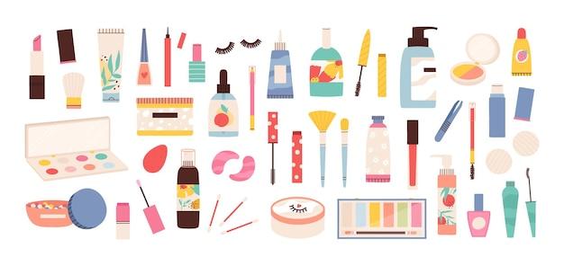 Narzędzia do makijażu. kosmetyki kosmetyczne w butelkach, pomadki, pędzel do tuszu do rzęs, cienie do powiek, lakiery i kremy. zestaw wektorów do makijażu i pielęgnacji skóry. ilustracyjny makijaż i butelka z kremem do pielęgnacji