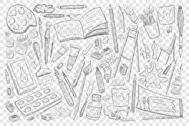 Narzędzia do malowania i rysowania doodle zestaw ilustracji
