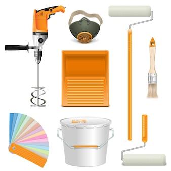 Narzędzia do malowania wektorów na białym tle