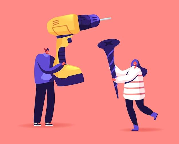 Narzędzia do naprawy domu, budowy i ilustracji prac konstrukcyjnych. drobne postacie męskie i żeńskie trzymające ogromne wiertło i śrubę