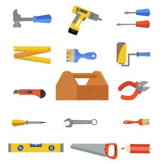 Narzędzia do naprawy konstrukcji płaski zestaw ikon kreskówka drewniana skrzynka narzędziowa z młotkami śrubokręt klucz