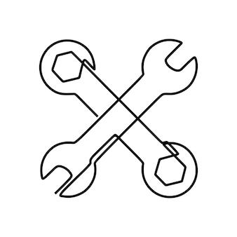 Narzędzia do naprawy symbolu jednoliniowa ciągła grafika liniowa