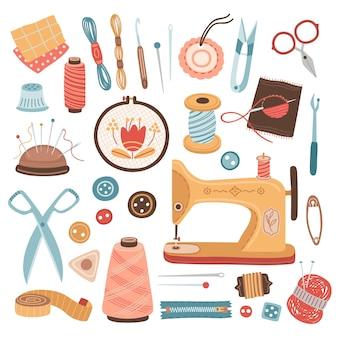 Narzędzia do robótek ręcznych. hobby rzemieślnicze, szycie materiałów do haftu dziewiarskiego. wątek, piłka wełna przędza i nożyczki, ilustracja wektorowa maszyny do szycia. robótki i szycie, rzemieślniczy sprzęt hobbystyczny