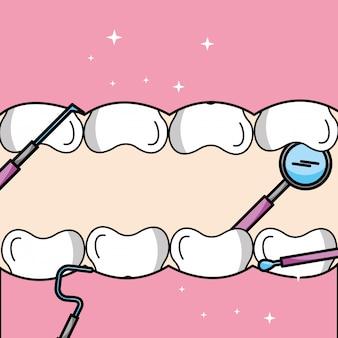 Narzędzia do zębów i dziąseł w ustach higiena jamy ustnej