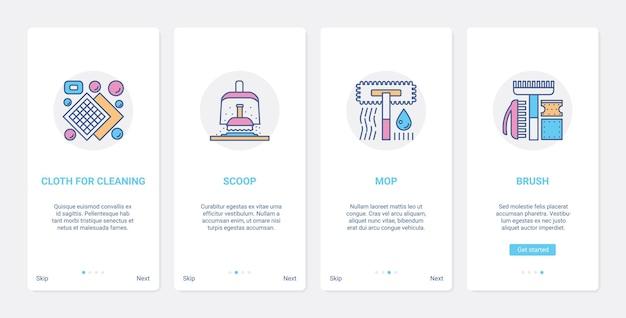 Narzędzia gospodarstwa domowego urządzenia do czyszczenia zestawu ekranów strony aplikacji mobilnej ux ui w domu