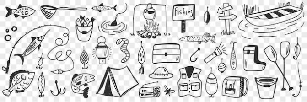 Narzędzia i akcesoria wędkarskie doodle zestaw ilustracji