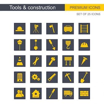 Narzędzia i konstrukcje ikony ustawić wektor