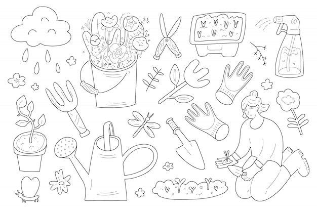 Narzędzia i materiały ogrodnicze, kolekcja doodle