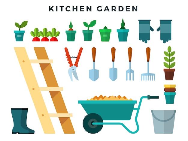 Narzędzia i sprzęt do pracy w ogrodzie kuchennym, zestaw płaskich ikon.
