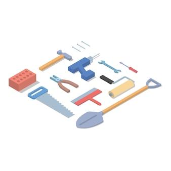 Narzędzia Ilustracji Izometryczny Premium Wektorów