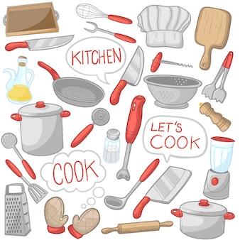Narzędzia kuchenne naczynia do gotowania clip art color icons