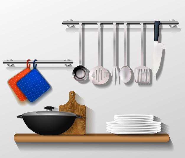 Narzędzia kuchenne z przyborami kuchennymi. półka na ścianie z naczyniami, deską i patelnią. wektor