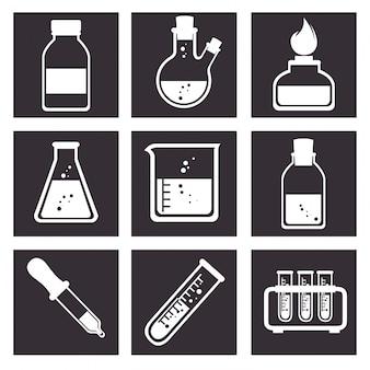 Narzędzia laboratoryjne ikony designu rurki