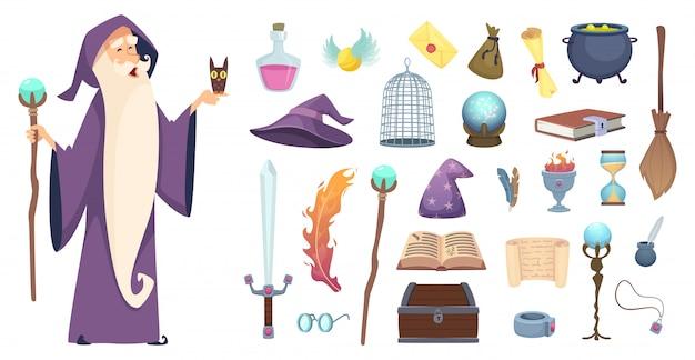 Narzędzia magika. czarodziejska magiczna tajemnicza mikstura miotły kapelusz wiedźmy i obrazki z książek z zaklęć