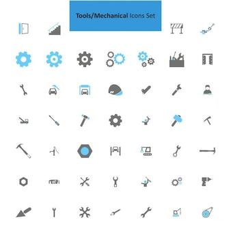 Narzędzia mechaniczne zestaw ikon