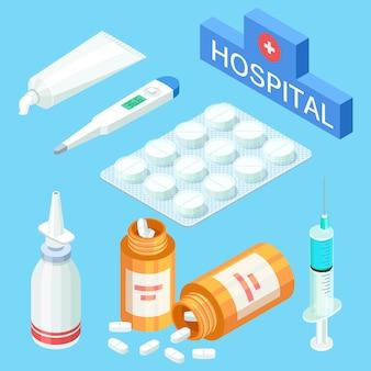Narzędzia medyczne i leki, witaminy. vector izometryczny medycyna